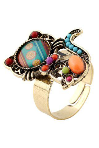 Latest Fake Gem Bead Kitten Cuff Ring - ONE-SIZE COLORMIX Mobile