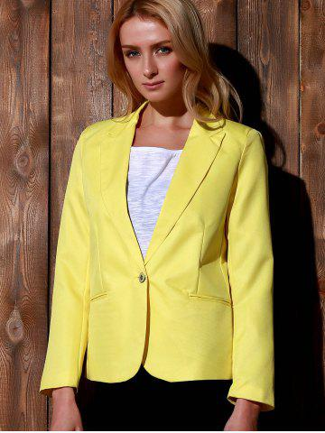Online Lapel Long Sleeve One Button Blazer - XL YELLOW Mobile