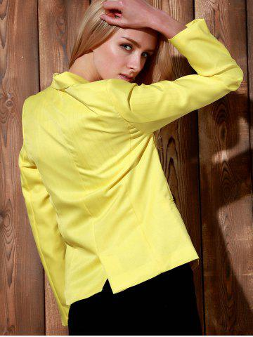 Buy Lapel Long Sleeve One Button Blazer - XL YELLOW Mobile