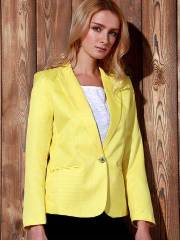 Trendy Lapel Long Sleeve One Button Blazer - XL YELLOW Mobile