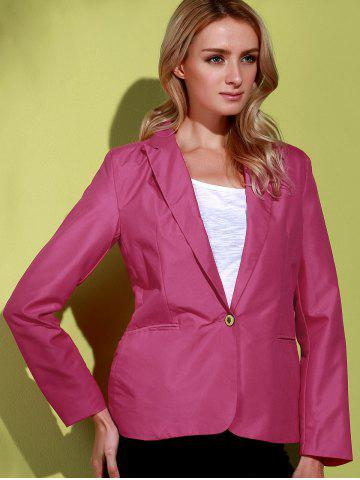 Latest Lapel Long Sleeve One Button Blazer - ROSE 2XL Mobile