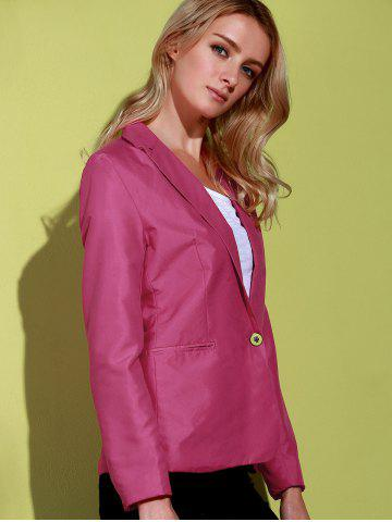 Outfits Lapel Long Sleeve One Button Blazer - ROSE 2XL Mobile