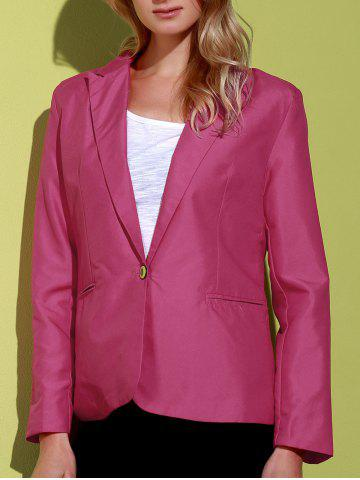 Best Lapel Long Sleeve One Button Blazer - ROSE 2XL Mobile