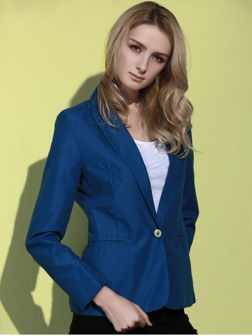Unique Lapel Long Sleeve One Button Blazer - DEEP BLUE S Mobile