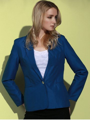 Shop Lapel Long Sleeve One Button Blazer - DEEP BLUE S Mobile