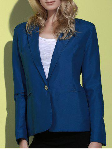 Lapel Long Sleeve One Button Blazer - Deep Blue - Xl