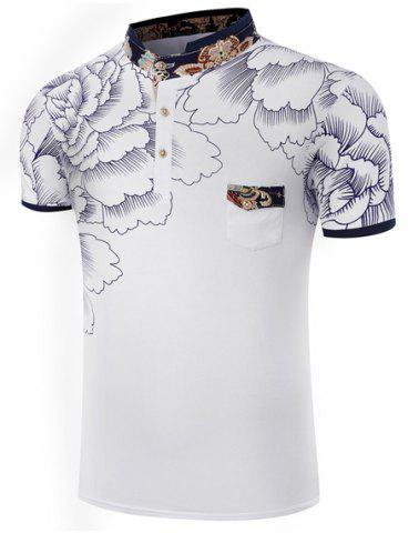Latest Stand Collar Floral Printing Short Sleeve Men's T-Shirt WHITE 2XL