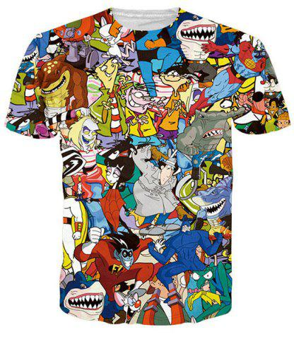 Outfit Funny 3D Cartoon Print Round Neck Short Sleeves T-Shirt For Men