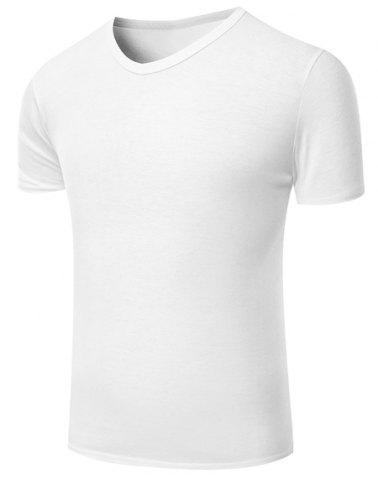 Fashion V-Neck Pure Color Short Sleeve Men's T-Shirt