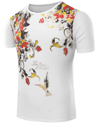 New Round Neck Floral Print Short Sleeve Men's T-Shirt