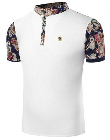 New Stand Collar Floral Print Zipper Design Short Sleeve Men's T-Shirt