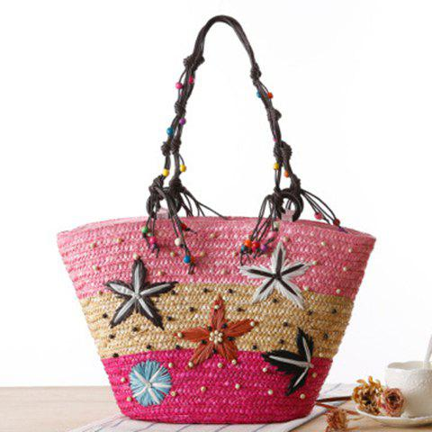 Affordable Embroidery Color Block Straw Beach Bag - PINK  Mobile