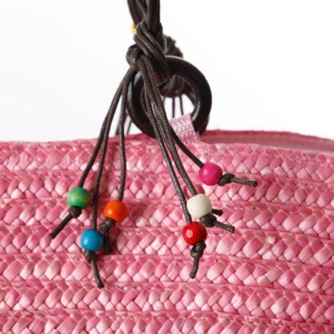 Buy Embroidery Color Block Straw Beach Bag - PINK  Mobile