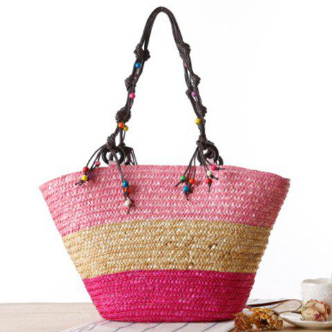 Trendy Embroidery Color Block Straw Beach Bag - PINK  Mobile