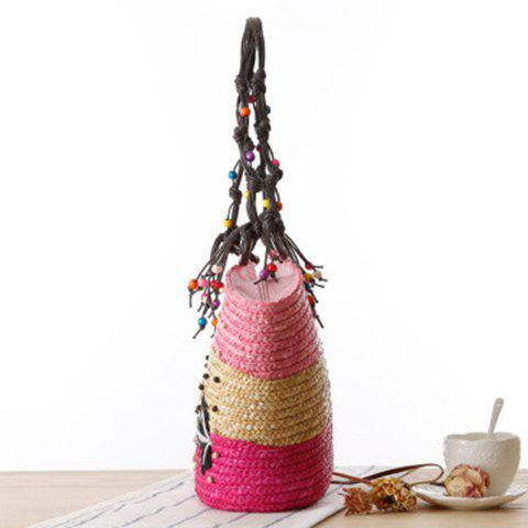 New Embroidery Color Block Straw Beach Bag - PINK  Mobile
