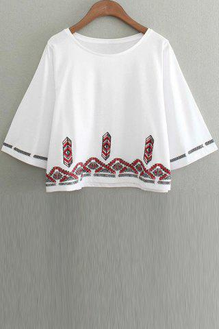 Buy Fashion Round Collar 3/4 Sleeve Embroidery T-Shirt For Women