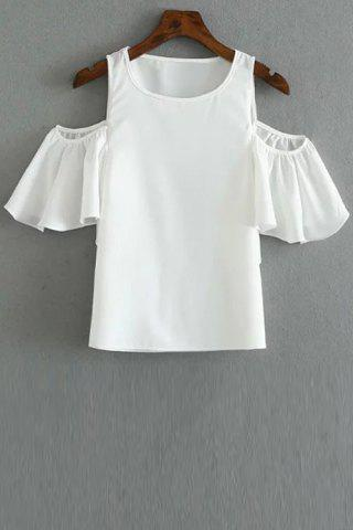Hot Fashionable Round Collar Cold Shoulder Solid Color T-Shirt For Women WHITE L