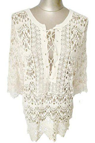 Store Stylish Round Neck Long Sleeve Cut Out Crochet Women's Cover Up