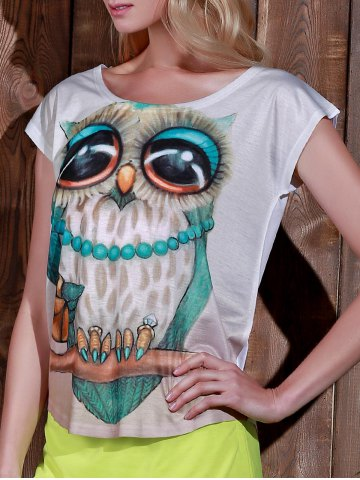 Stylish Scoop Neck Owl Print Short Sleeve T-Shirt For Women - WHITE ONE SIZE(FIT SIZE XS TO M)