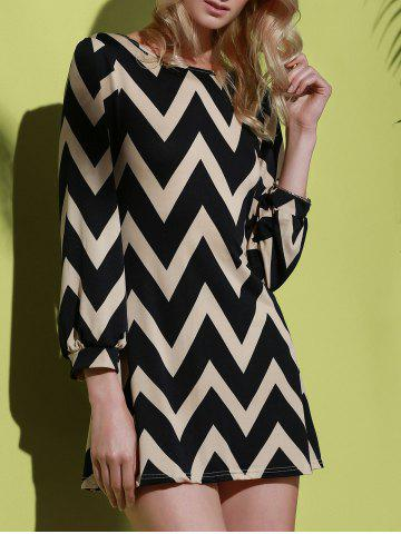Chic Fashionable Color Block Zigzag Printed Dress For Women BLACK S