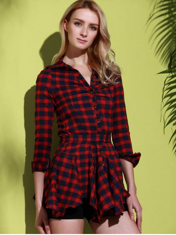 Latest Checked Lace-Up Long Sleeve Dress - M RED Mobile