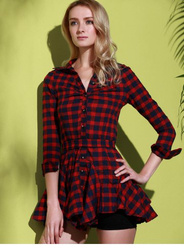 New Checked Lace-Up Long Sleeve Dress - L RED Mobile