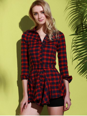 Latest Checked Lace-Up Long Sleeve Dress - L RED Mobile