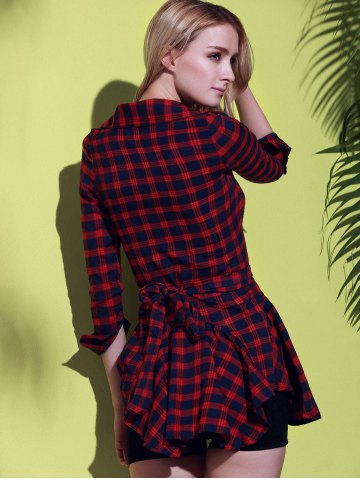 Cheap Checked Lace-Up Long Sleeve Dress - XL RED Mobile