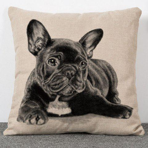 Shop High Quality Dog Pattern Flax Pillow Case(Without Pillow Inner) COLORMIX