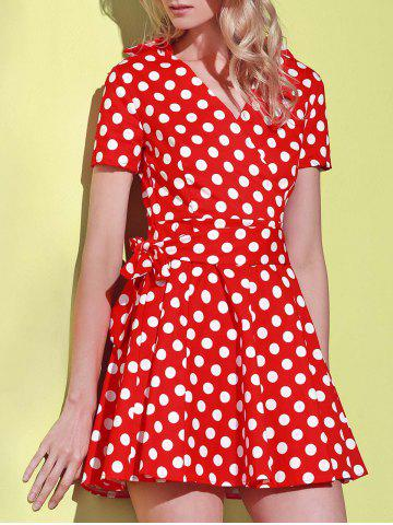 Trendy Polka Dot Cute Short Sleeve Ball Wrap Dress RED S