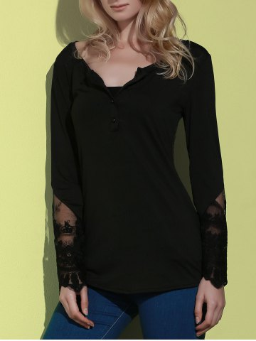 Best Simple Style Back Slit Lace Spliced Bodycon T-Shirt For Women - M BLACK Mobile