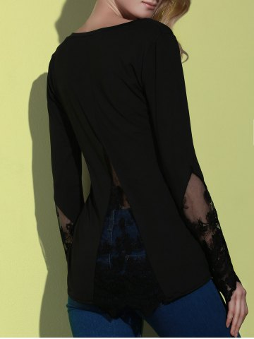 Chic Simple Style Back Slit Lace Spliced Bodycon T-Shirt For Women - L BLACK Mobile