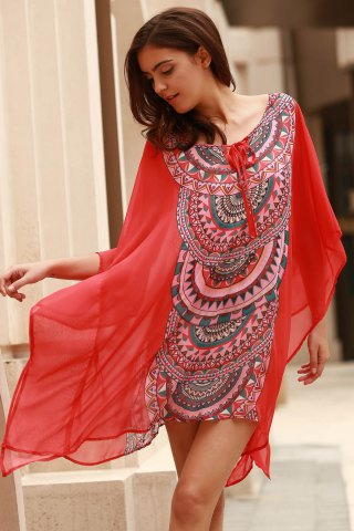 Fashion Stylish Scoop Neck Bat-Wing Sleeve Geometric Print Women's Cover Up - L ORANGE Mobile
