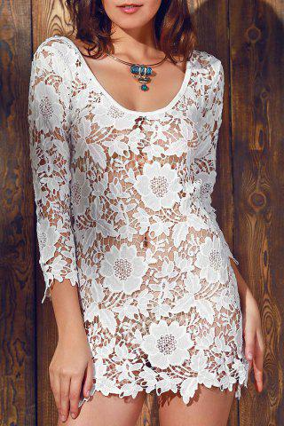 Trendy Scalloped Lace Sheer Swimsuit Cover Ups Dress