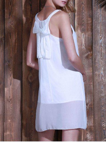 Discount Bowknot Chiffon Tank Dress - WHITE L Mobile