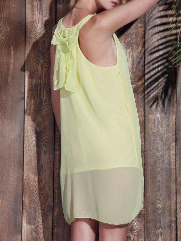 Cheap Bowknot Chiffon Tank Dress YELLOW M