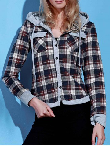Stylish Hooded Long Sleeve Gingham Single-Breasted Women's Blouse - BROWN - S