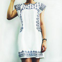 Ethnic Cap Sleeve Printed Mini T-Shirt Beach Dress