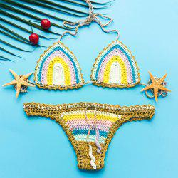 Halter Crochet Low-Waist Bikini For Women - COLORMIX S