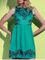 Fashionable Jewel Neck Sleeveless Printed A-Line Dress For Women