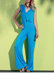 Elegant Blue Plunging Neck Sleeveless Wide-Leg Jumpsuit For Women -