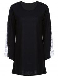 Casual V-Neck Crochet Spliced Bell Sleeve T-Shirt Dress For Women