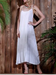 Open Back Beach Casual Long Maxi Slip Dress - WHITE