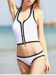 Halter Zippered Tankini Swimwear