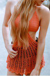 Sexy Halter Crochet Openwork Beach Dress For Women - ORANGE RED