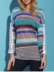 Casual Lace Spliced Long Sleeve Colorful Striped T-Shirt For Women