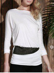 Long Sleeve Sequin Embellished Packet Buttock Cotton Blend T-Shirt - WHITE