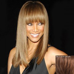 Attractive Full Bang Capless Fashion Long Silky Straight Real Natural Hair Wig For Women -