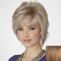 Fluffy Inclined Bang Short Human Hair Wig For Women -