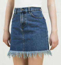 Trendy High-Waisted Bleach Wash Women's Denim Skirt -